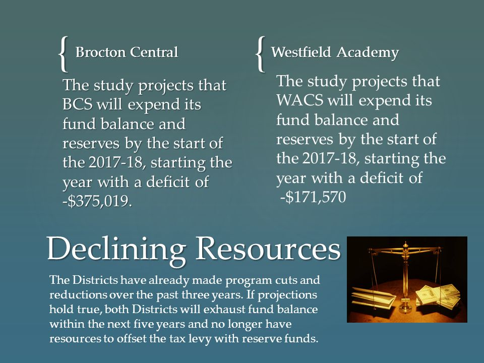 {{ Brocton Central Westfield Academy Declining Resources The study projects that BCS will expend its fund balance and reserves by the start of the 201