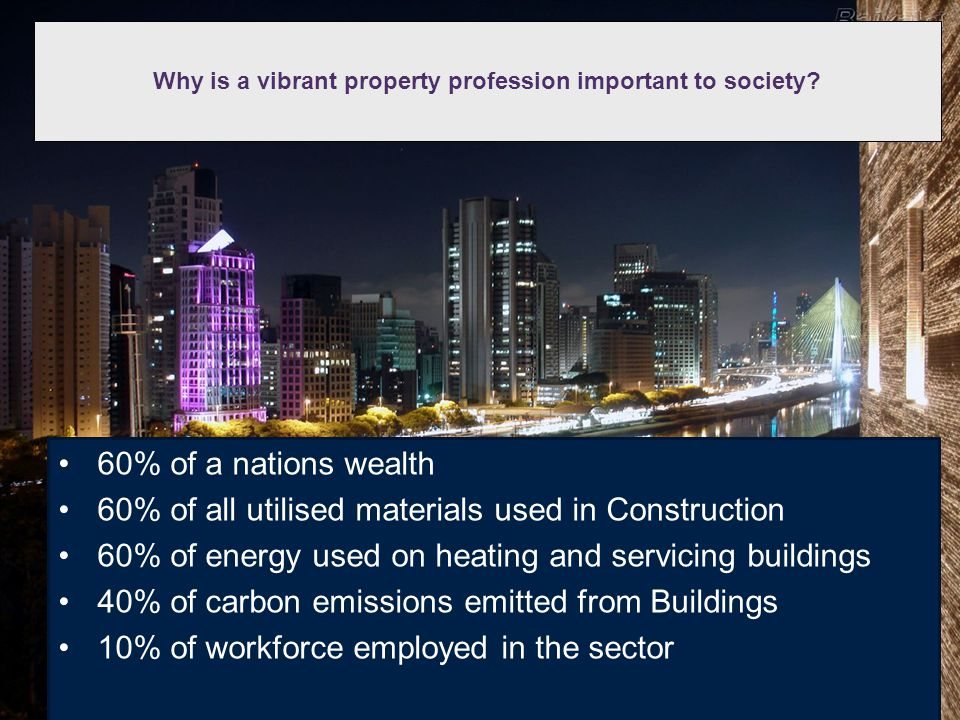 Why is a vibrant property profession important to society? 60% of a nations wealth 60% of all utilised materials used in Construction 60% of energy us