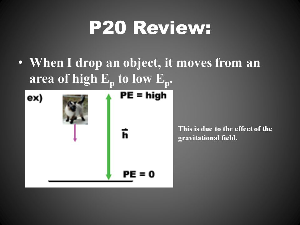 P20 Review: When I drop an object, it moves from an area of high E p to low E p.
