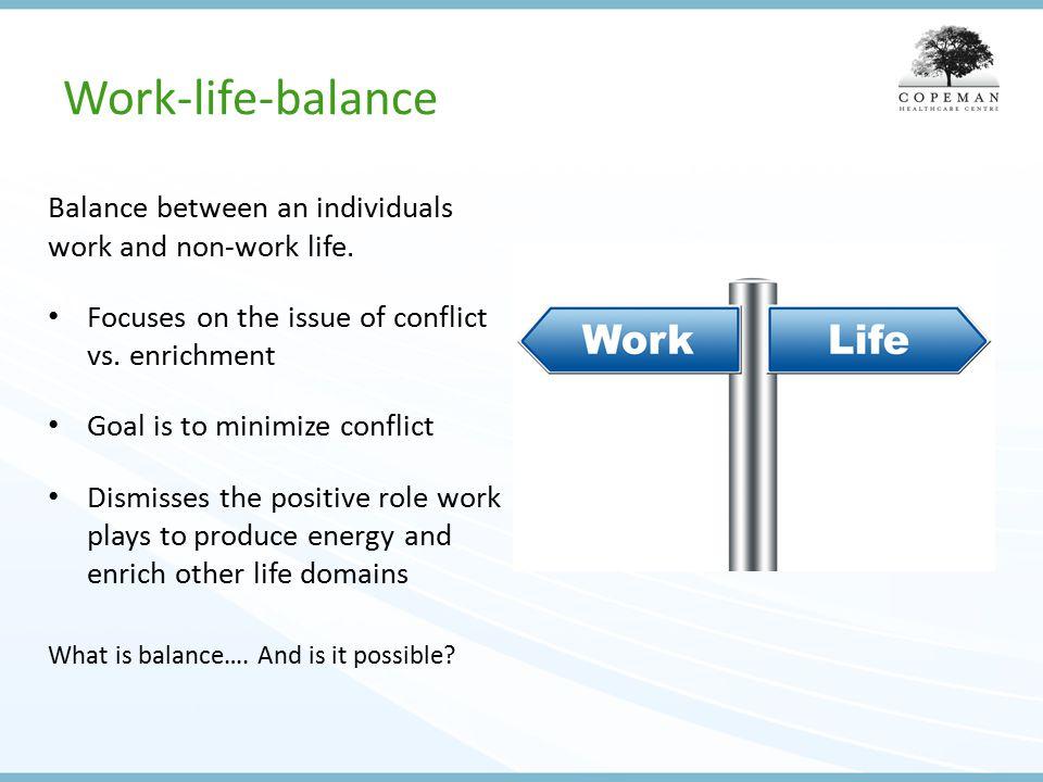 Work-life-balance Balance between an individuals work and non-work life.