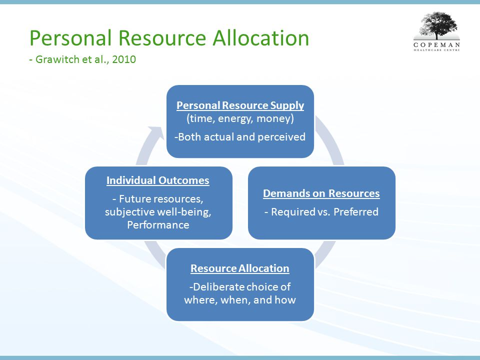 Personal Resource Allocation - Grawitch et al., 2010 Personal Resource Supply (time, energy, money) -Both actual and perceived Demands on Resources - Required vs.