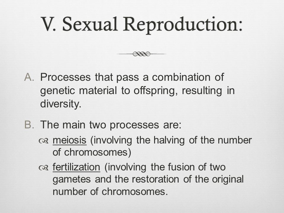 V. Sexual Reproduction:V. Sexual Reproduction: A.Processes that pass a combination of genetic material to offspring, resulting in diversity. B.The mai