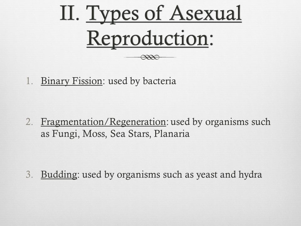 Binary FissionBinary Fission  Asexual  Cell splits and replicated DNA goes with each part  Prokaryotes, Bacteria  + Fast and easy  - Everybody has the same DNA