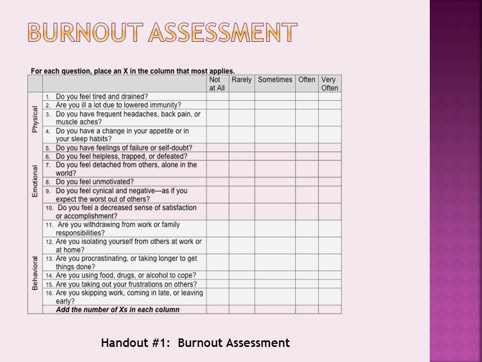 Handout #1: Burnout Assessment