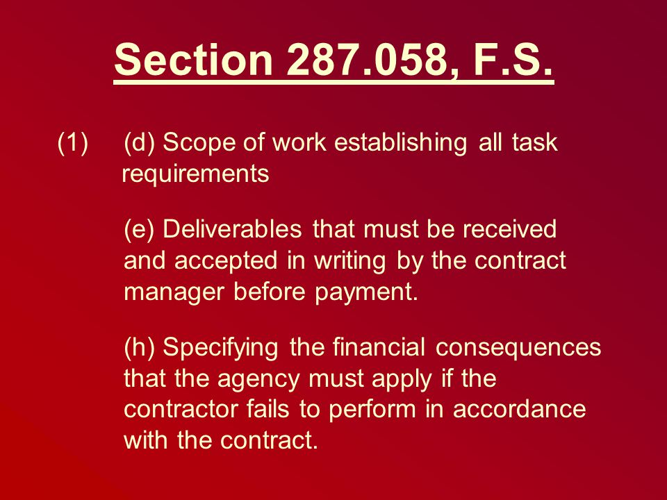 Section 287.058, F.S.