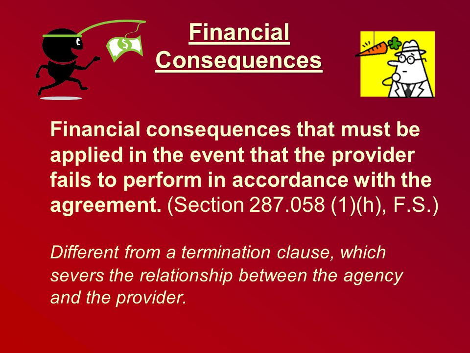 Financial Consequences Financial consequences that must be applied in the event that the provider fails to perform in accordance with the agreement.