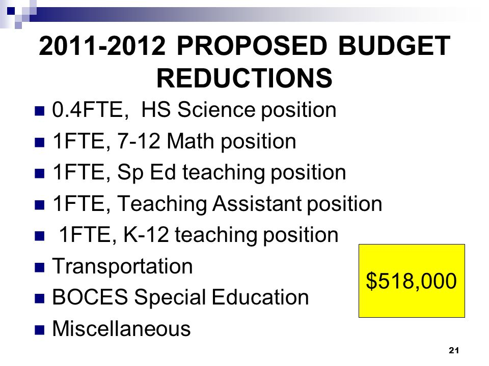2011-2012 PROPOSED BUDGET REDUCTIONS 0.4FTE, HS Science position 1FTE, 7-12 Math position 1FTE, Sp Ed teaching position 1FTE, Teaching Assistant position 1FTE, K-12 teaching position Transportation BOCES Special Education Miscellaneous 21 $518,000