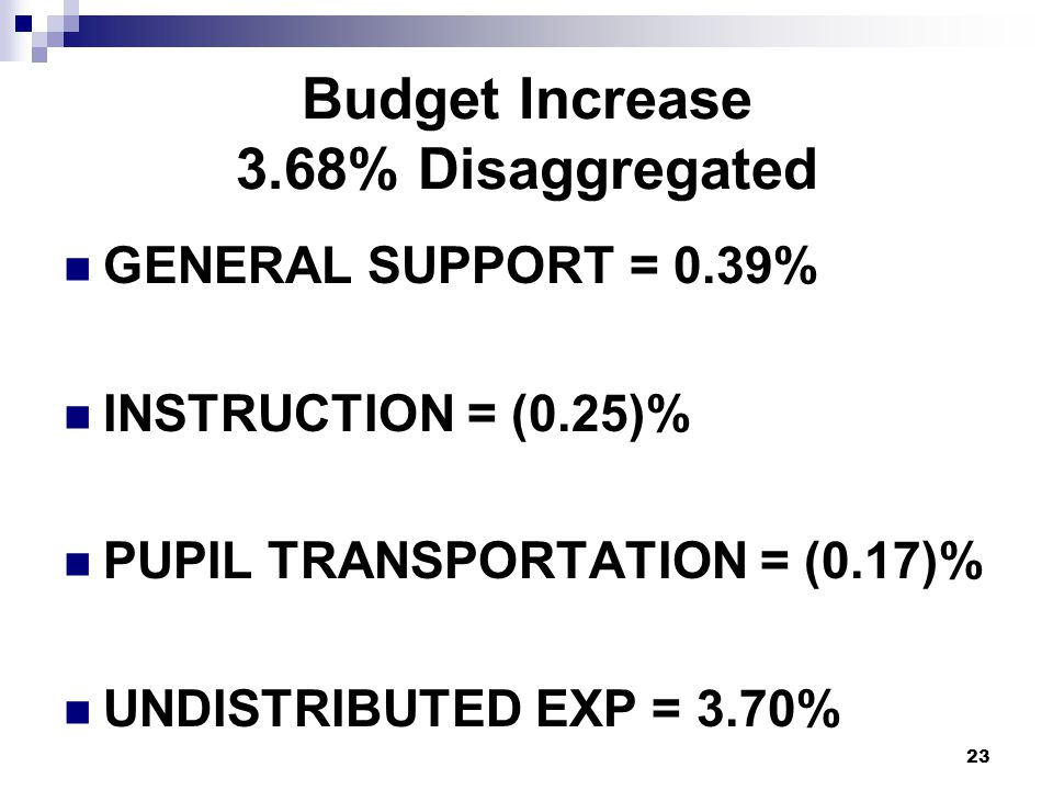 Budget Increase 3.68% Disaggregated GENERAL SUPPORT = 0.39% INSTRUCTION = (0.25)% PUPIL TRANSPORTATION = (0.17)% UNDISTRIBUTED EXP = 3.70% 23