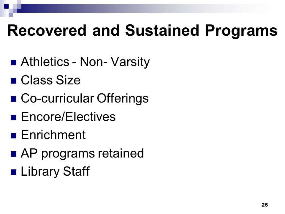 25 Athletics - Non- Varsity Class Size Co-curricular Offerings Encore/Electives Enrichment AP programs retained Library Staff Recovered and Sustained Programs