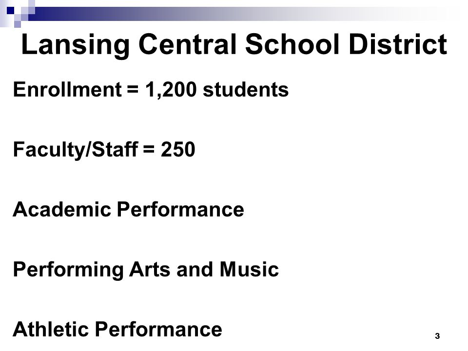 3 Lansing Central School District Enrollment = 1,200 students Faculty/Staff = 250 Academic Performance Performing Arts and Music Athletic Performance
