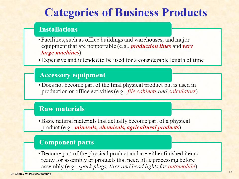 Dr. Chen, Principle of Marketing 15 Categories of Business Products Facilities, such as office buildings and warehouses, and major equipment that are