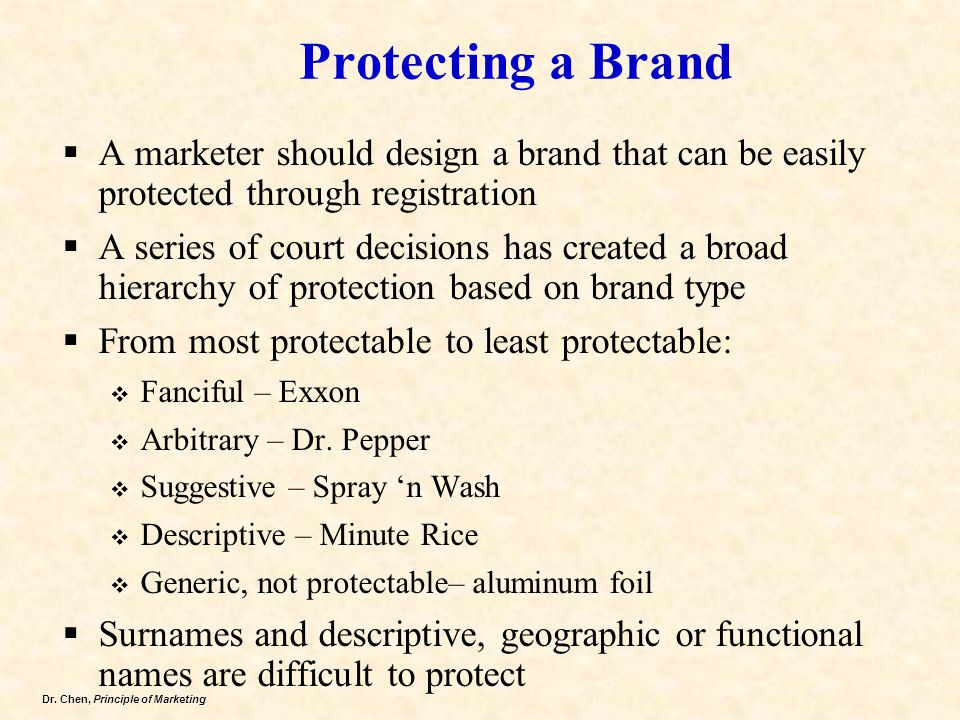 Dr. Chen, Principle of Marketing Protecting a Brand  A marketer should design a brand that can be easily protected through registration  A series of