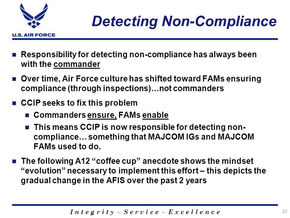 I n t e g r i t y - S e r v i c e - E x c e l l e n c e Detecting Non-Compliance Responsibility for detecting non-compliance has always been with the