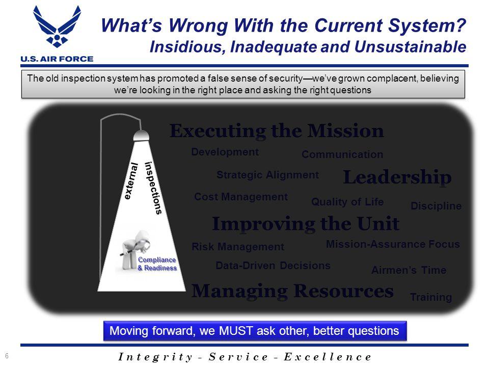 I n t e g r i t y - S e r v i c e - E x c e l l e n c e Discipline Development Quality of Life Risk Management Strategic Alignment Airmen's Time Commu