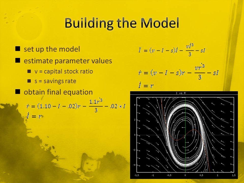 set up the model estimate parameter values v = capital stock ratio s = savings rate obtain final equation