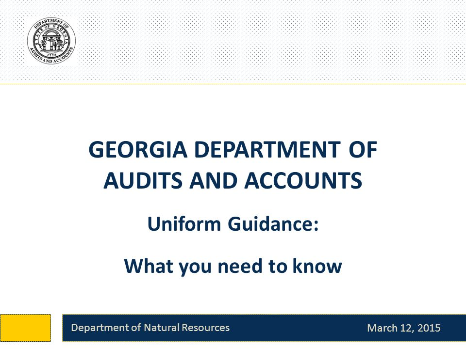GEORGIA DEPARTMENT OF AUDITS AND ACCOUNTS March 12, 2015 Department of Natural Resources Uniform Guidance: What you need to know