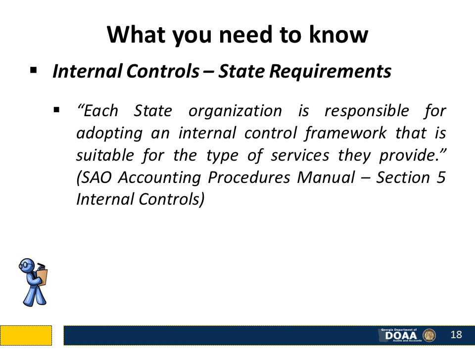 What you need to know  Internal Controls – State Requirements  Each State organization is responsible for adopting an internal control framework that is suitable for the type of services they provide. (SAO Accounting Procedures Manual – Section 5 Internal Controls) 18