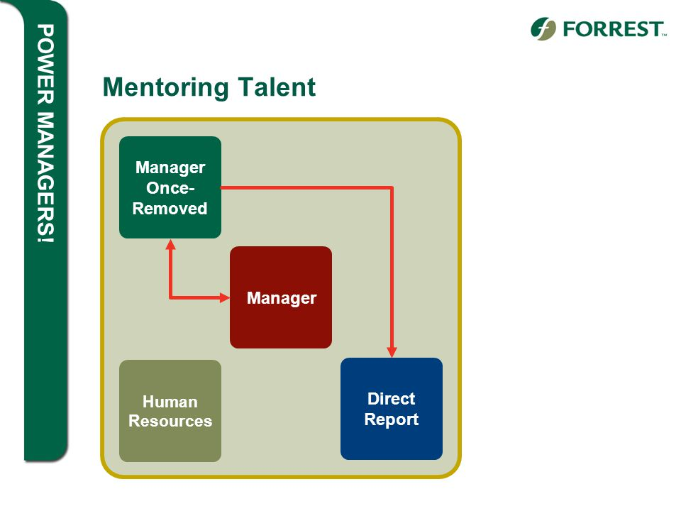 POWER MANAGERS! Mentoring Talent Manager Once- Removed Manager Direct Report Human Resources