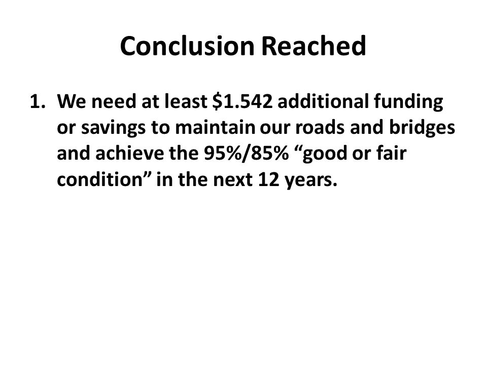 Conclusion Reached 1.We need at least $1.542 additional funding or savings to maintain our roads and bridges and achieve the 95%/85% good or fair condition in the next 12 years.