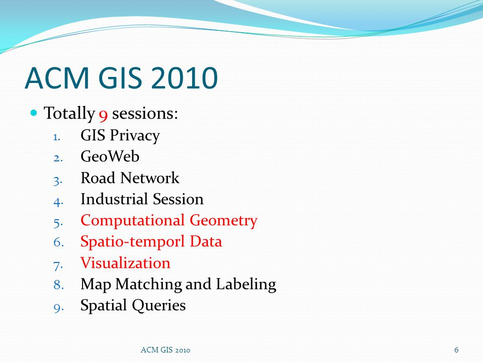 Totally 9 sessions: 1. GIS Privacy 2. GeoWeb 3. Road Network 4.