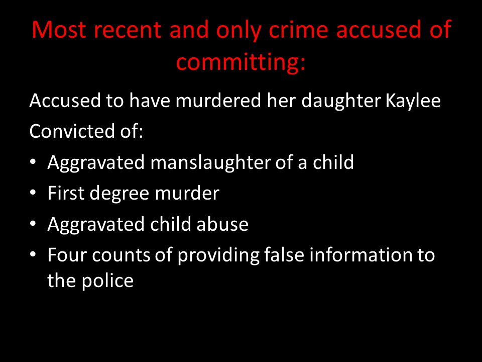Background of the accused murder: Caylee last seen June 16th, 2008 Reported missing July 15th, 2008 by Casey's mother Remains found December 11th, 2008 Said Caylee had drowned in the family swimming pool and her father had disposed the body.