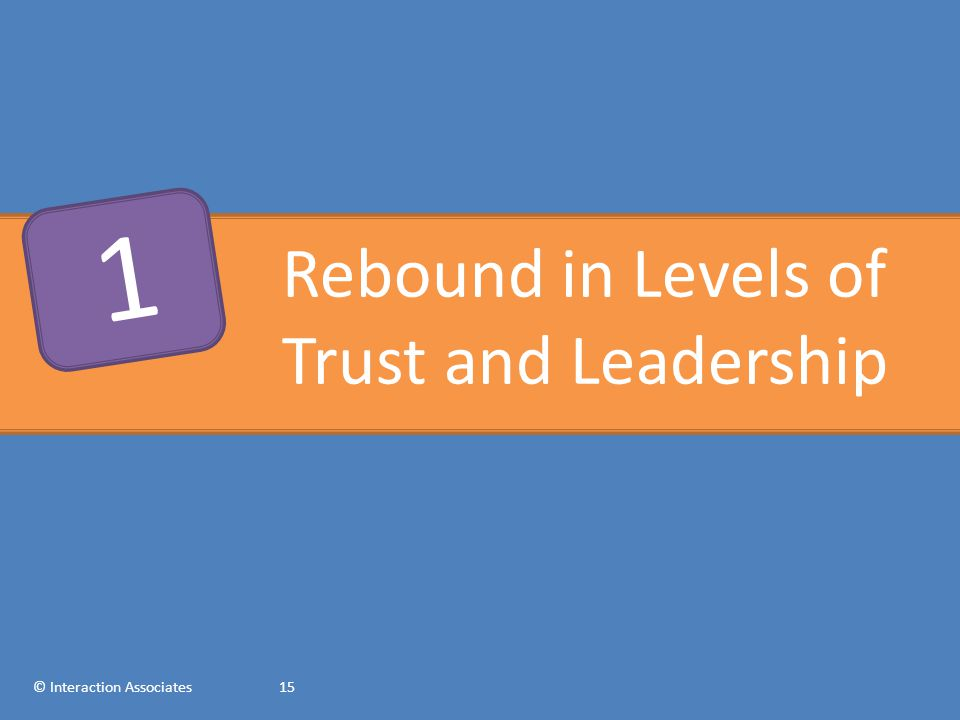 Rebound in Levels of Trust and Leadership © Interaction Associates15 1