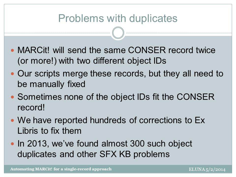 Problems with duplicates MARCit.