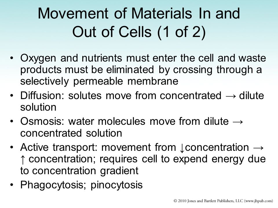 Movement of Materials In and Out of Cells (1 of 2) Oxygen and nutrients must enter the cell and waste products must be eliminated by crossing through