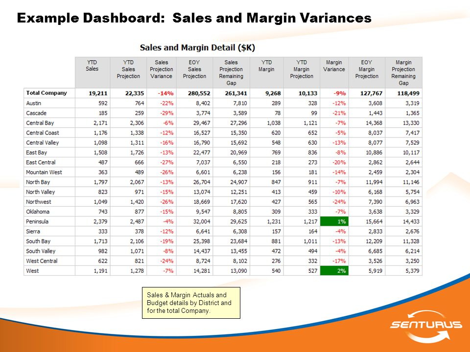 Example Dashboard: Sales and Margin Variances Sales & Margin Actuals and Budget details by District and for the total Company.