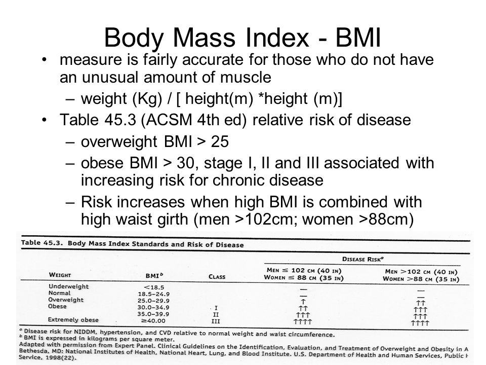 18 Body Mass Index - BMI measure is fairly accurate for those who do not have an unusual amount of muscle –weight (Kg) / [ height(m) *height (m)] Table 45.3 (ACSM 4th ed) relative risk of disease –overweight BMI > 25 –obese BMI > 30, stage I, II and III associated with increasing risk for chronic disease –Risk increases when high BMI is combined with high waist girth (men >102cm; women >88cm)