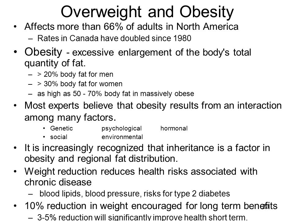 23 Overweight and Obesity Affects more than 66% of adults in North America –Rates in Canada have doubled since 1980 Obesity - excessive enlargement of