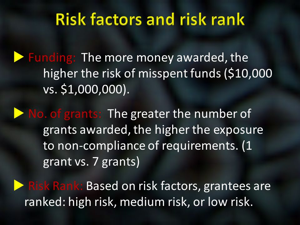  Funding: The more money awarded, the higher the risk of misspent funds ($10,000 vs. $1,000,000).  No. of grants: The greater the number of grants a