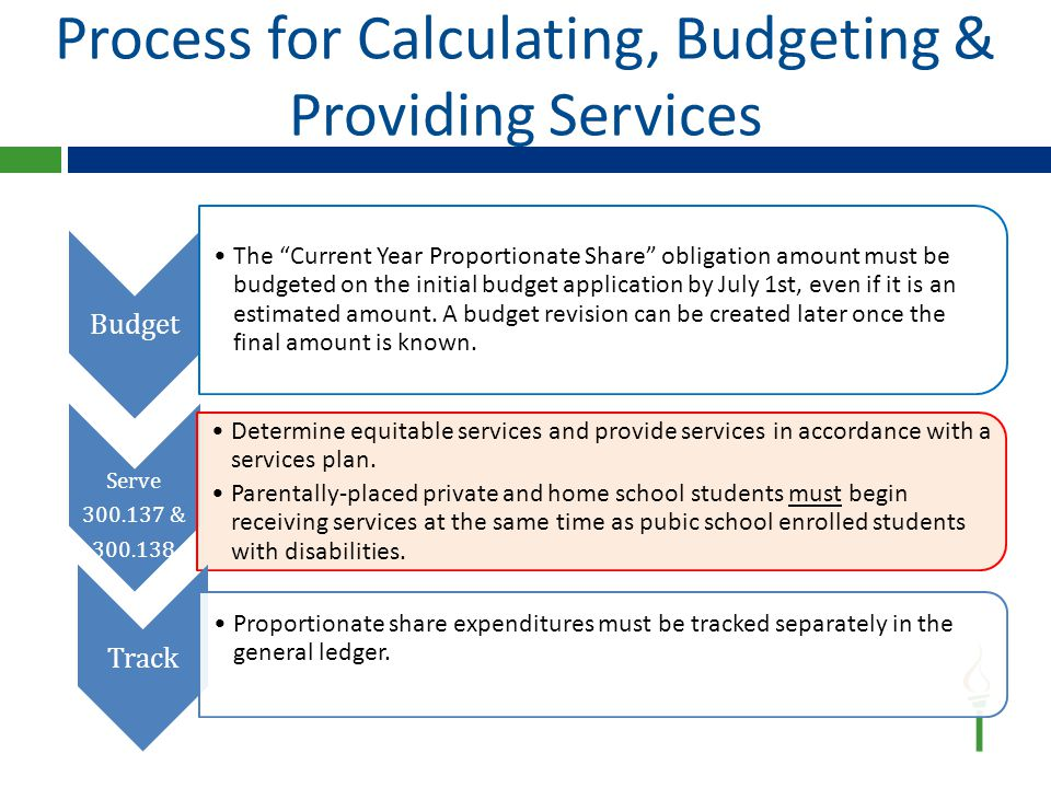 Process for Calculating, Budgeting & Providing Services Serve 300.137 & 300.138 Determine equitable services and provide services in accordance with a services plan.