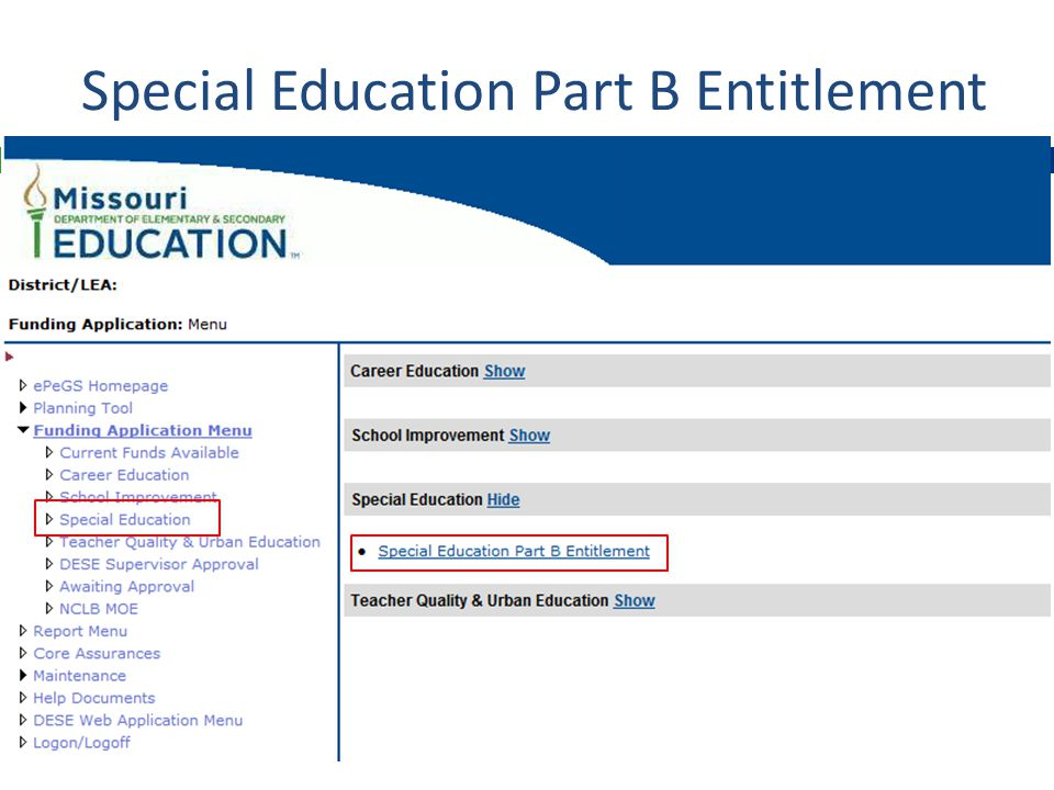 Special Education Part B Entitlement
