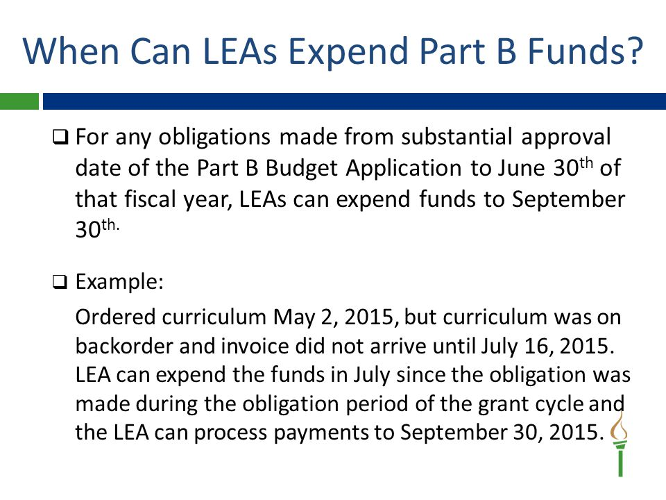 When Can LEAs Expend Part B Funds.