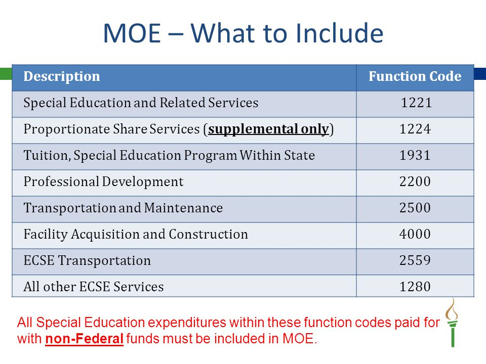 Do Not Include Expenditures Paid With:  Federal Part B Entitlement  Federal Proportionate Share  Federal ECSE  Medicaid  Federal High Need Fund  Federal Grants NO Federal Expenditures on MOE MOE – What NOT to Include