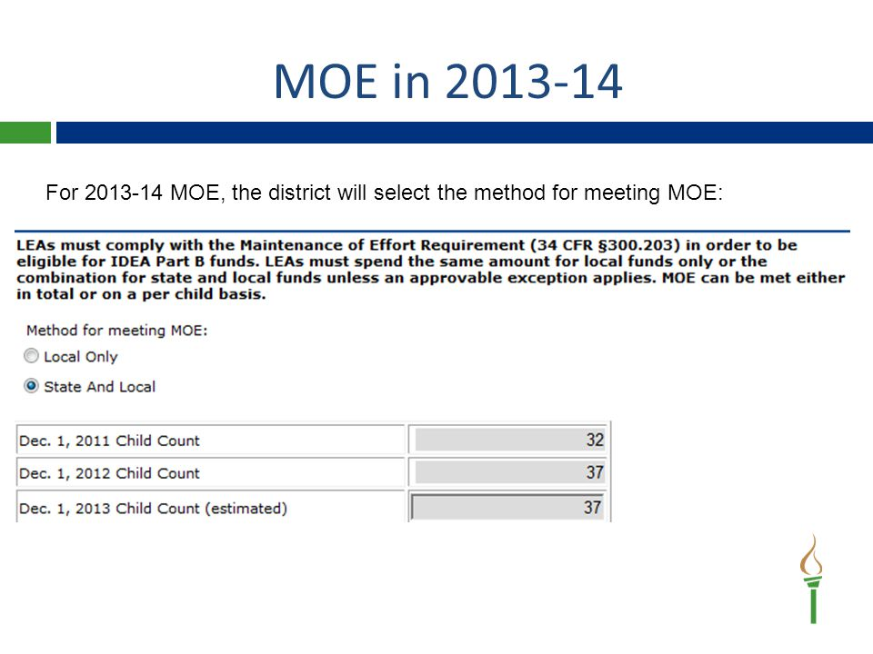 MOE in 2013-14 For 2013-14 MOE, the district will select the method for meeting MOE: