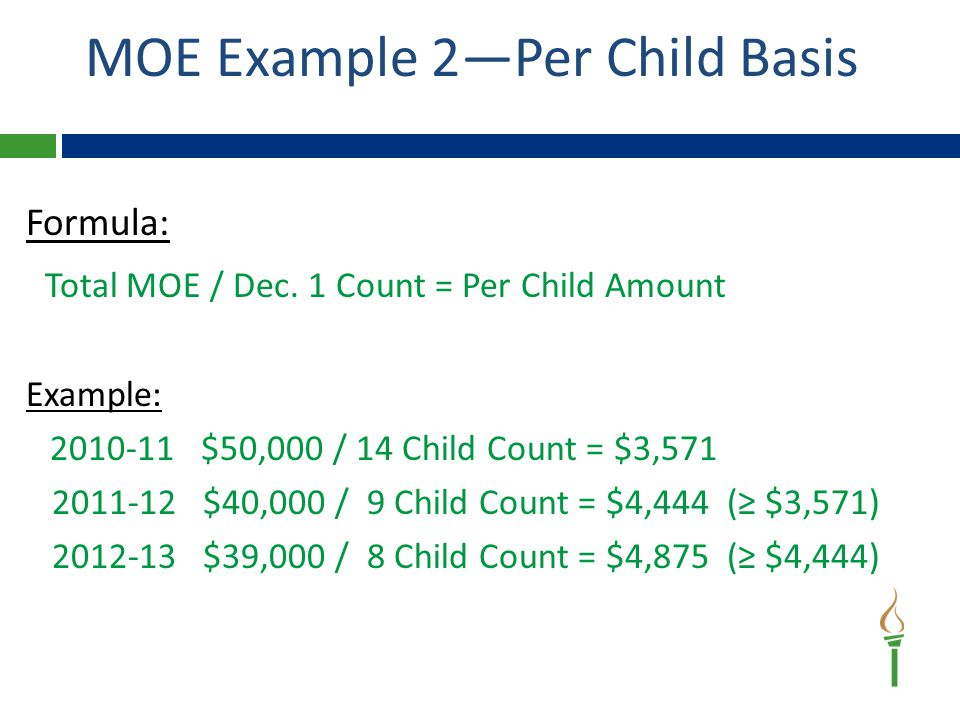 MOE Example 2—Per Child Basis Formula: Total MOE / Dec.