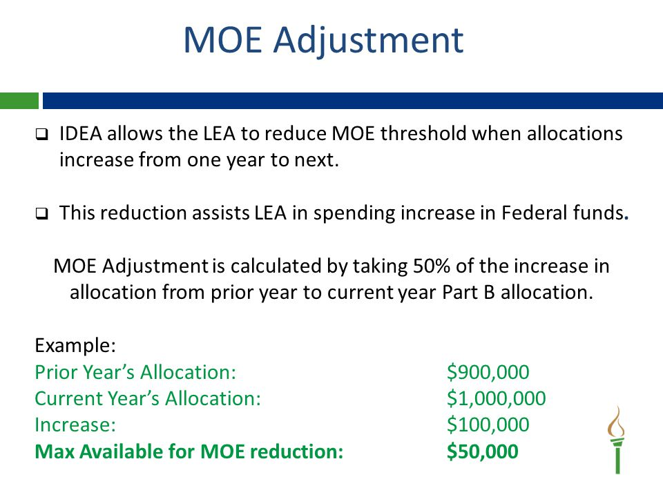 MOE Adjustment Facts  The MOE Adjustment DOES NOT decrease Part B Allocation but instead the amount of Local/State Funds that must be spent on students with disabilities (MOE).