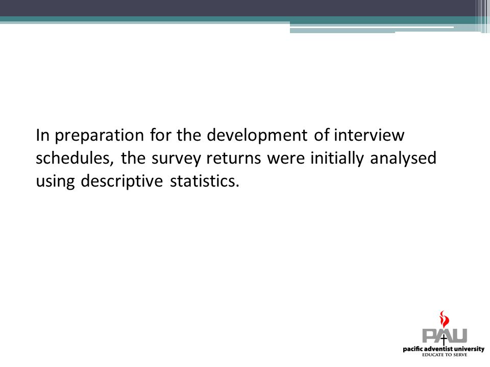 In preparation for the development of interview schedules, the survey returns were initially analysed using descriptive statistics.
