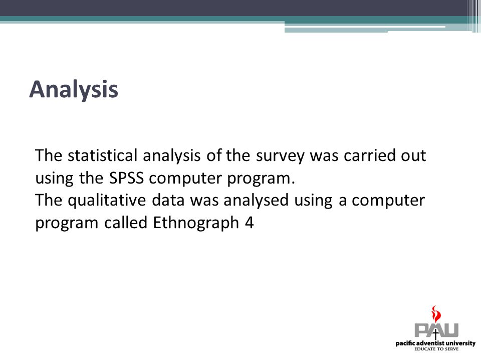 Analysis The statistical analysis of the survey was carried out using the SPSS computer program.