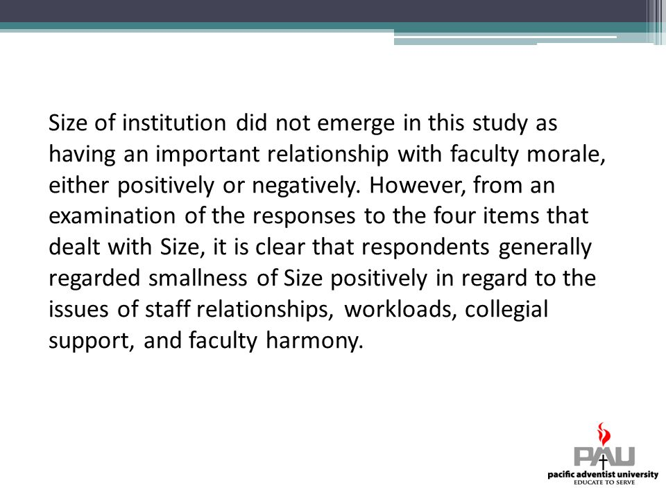 Size of institution did not emerge in this study as having an important relationship with faculty morale, either positively or negatively.
