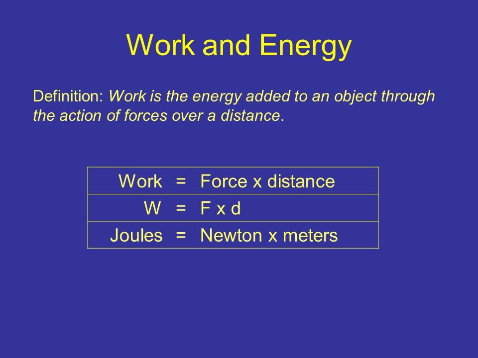 Work and Energy Work=Force x distance W=F x d Joules= Newton x meters Definition: Work is the energy added to an object through the action of forces over a distance.