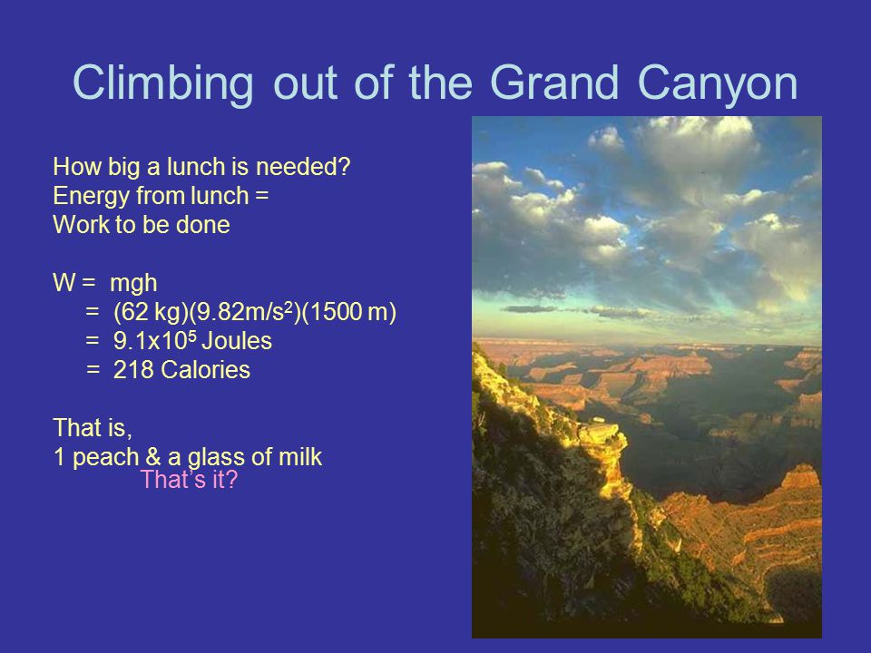 Climbing out of the Grand Canyon How big a lunch is needed? Energy from lunch = Work to be done W = mgh = (62 kg)(9.82m/s 2 )(1500 m) = 9.1x10 5 Joule