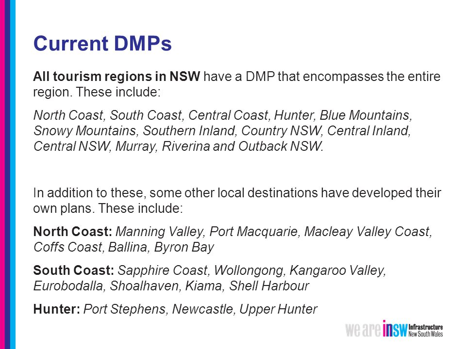 Current DMPs All tourism regions in NSW have a DMP that encompasses the entire region.