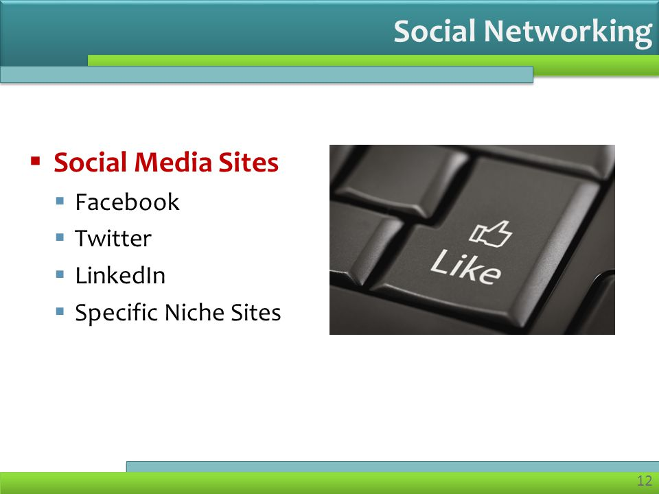 12  Social Media Sites  Facebook  Twitter  LinkedIn  Specific Niche Sites Social Networking