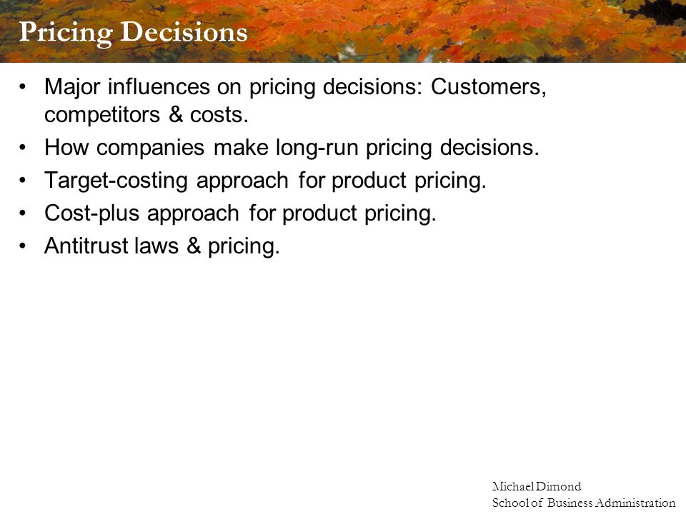 Michael Dimond School of Business Administration Pricing Decisions Major influences on pricing decisions: Customers, competitors & costs.