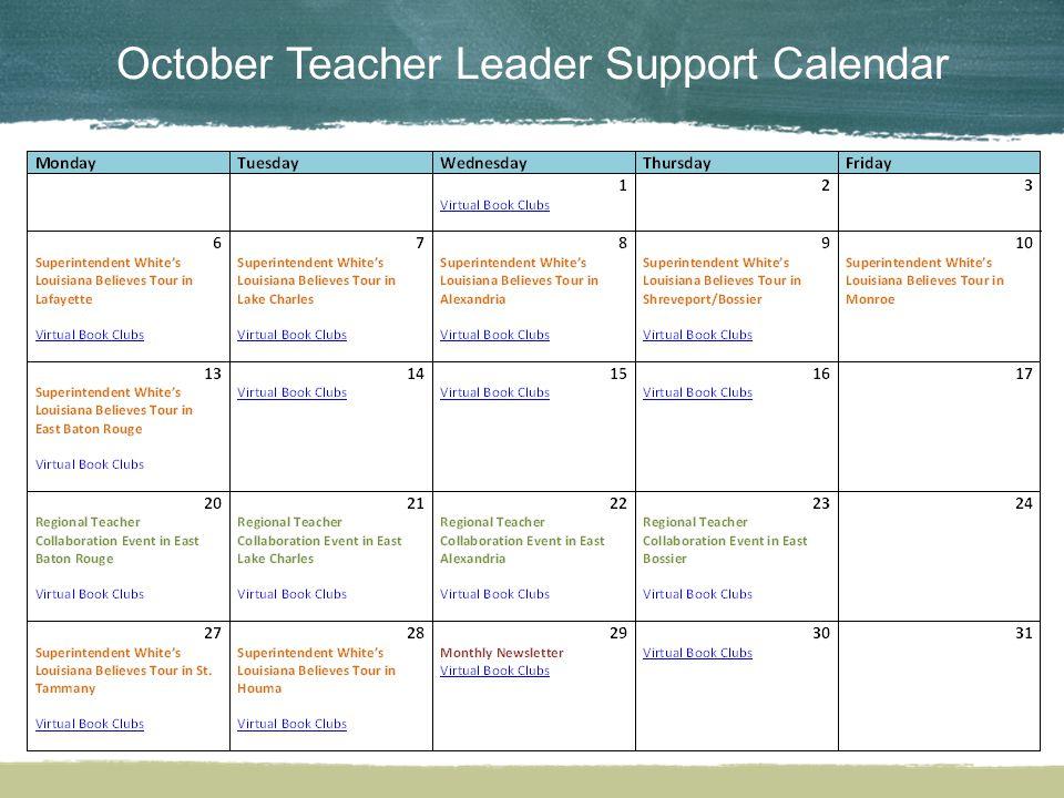 October Teacher Leader Support Calendar