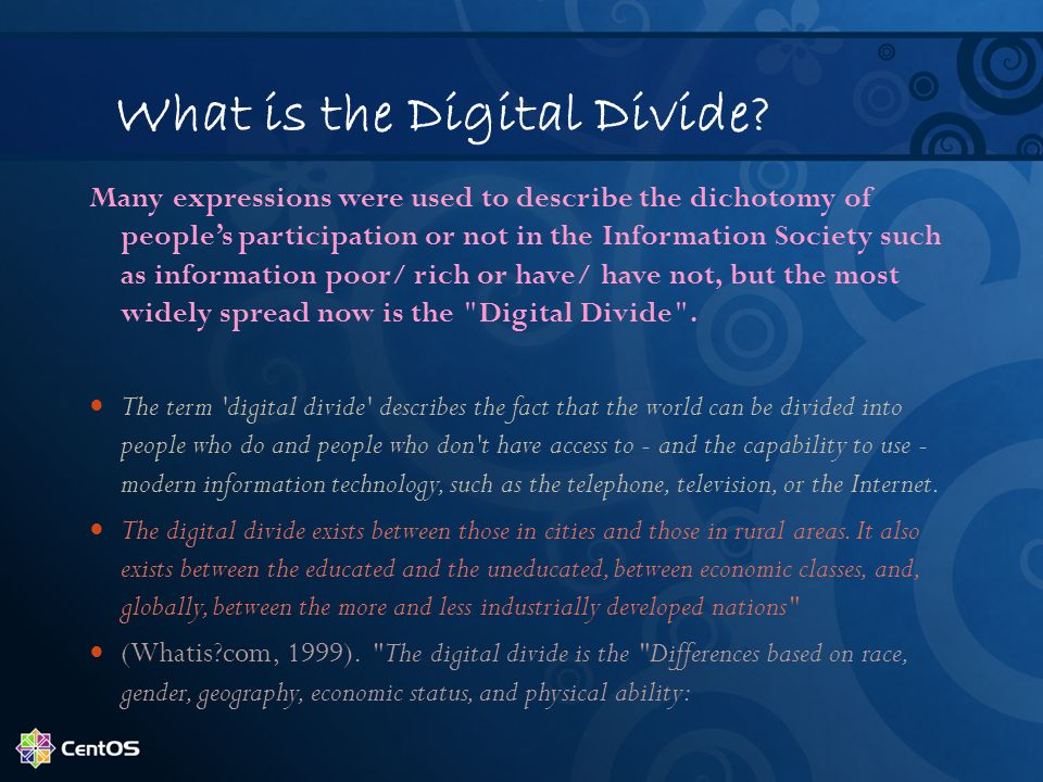 What is the Digital Divide? Many expressions were used to describe the dichotomy of people's participation or not in the Information Society such as i