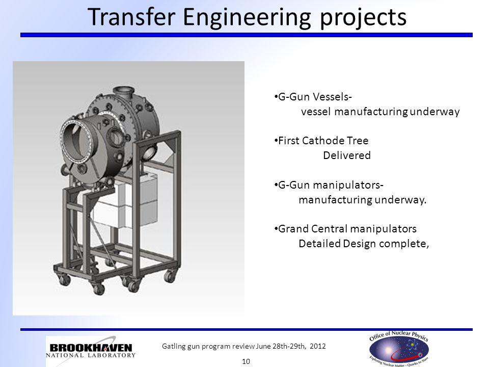 Transfer Engineering projects G-Gun Vessels- vessel manufacturing underway First Cathode Tree Delivered G-Gun manipulators- manufacturing underway. Gr